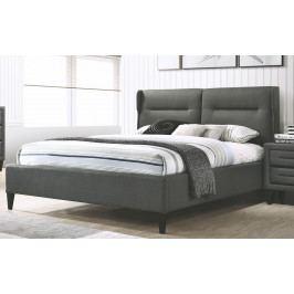 Manželská postel 180x200 cm čalouněná látkou v tmavě šedé barvě KN933