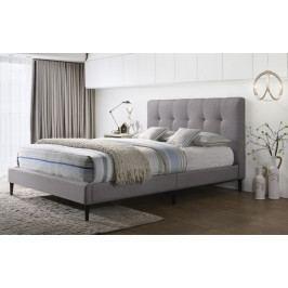 Manželská postel 180x200 cm čalouněná látkou v šedé barvě KN924