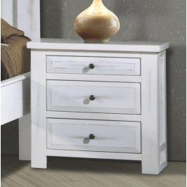 Noční stolek se zásuvkami v antické bílé barvě KN935
