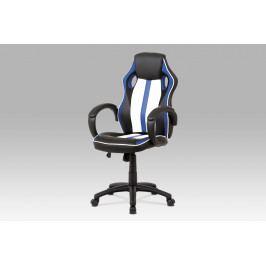 Kancelářská židle modrá s houpacím mechanismem v kombinaci látky MASH a bílo-černé ekokůže KA-V505 BLUE