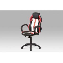 Kancelářská židle červená s houpacím mechanismem v kombinaci látky MASH a bílo-černé ekokůže KA-V505 RED