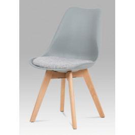 Jídelní židle šedý plast sedák z šedé tkaniny nohy masiv natural CT-722 GREY AKCE