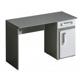 Pracovní stůl 120x50 cm v šedé barvě antracit v kombinaci s bílou matnou barvou KN1046