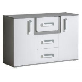 Široká komoda s dvířky a zásuvkami v bílé matné barvě se šedým korpusem KN1046