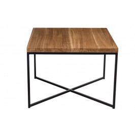 Konferenční stolek 60x60 cm v dekoru dub s černou kovovou konstrukcí DO039