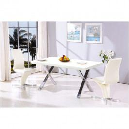 Jídelní stůl, bílá HG / chrom, ANSEL