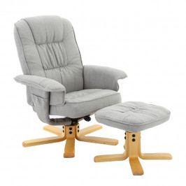 Relaxační křeslo s dřevěnou podnoží šedá látka TK3070
