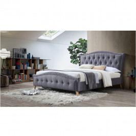 Manželská čalouněná postel s roštem 180x200 šedá TK3126