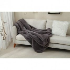 Kožešinová deka, šedá, 150x170, RABITA TYP 3