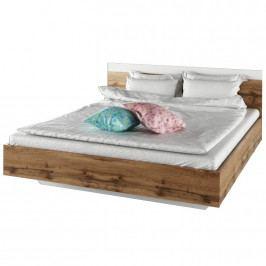 Manželská postel 160x200 v dekoru dub Wotan bílá TK3132