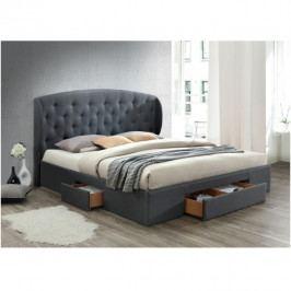 Manželská čalouněná postel s roštem a úložným prostorem 160x200 šedá TK3133