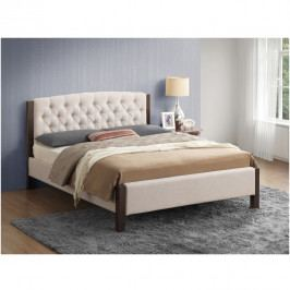 Manželská čalouněná postel s roštem 180x200 písková a tmavý ořech TK3129