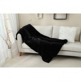 Kožešinová deka, černá, 150x170, RABITA TYP 1