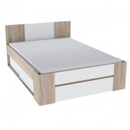 Manželská postel 140x200 cm s úložným prostorem v dekoru dub sonoma bílá TK3122