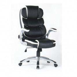 Kancelářské křeslo ekokůže bílá černá polohovatelné područky TK3165