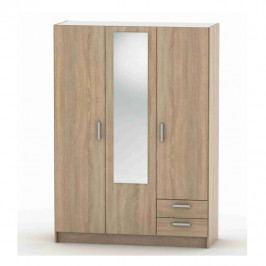 Třídveřová skříň se zrcadlem a zásuvkami v dekoru dub sonoma TK3201 TYP7