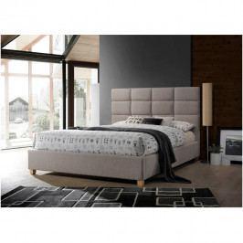 Manželská čalouněná postel 160x200 s roštem šedohnědá TK3139