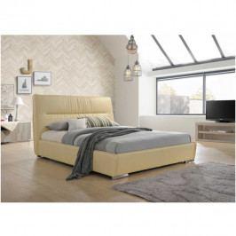 Manželská čalouněná postel 160x200 s roštem béžová ekokůže TK3140