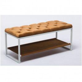 Designová lavice, bílý kov / béžová látka 6, Vikar