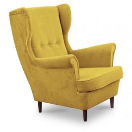 Křeslo ušák čalouněné žlutá wenge nohy TK3163