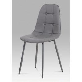 Jídelní židle očalouněná šedou ekokůží s designovým prošitím CT-393 GREY