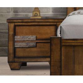 Noční stolek se zásuvkami z masivního dřeva v antické hnědé barvě typ pravý KN987