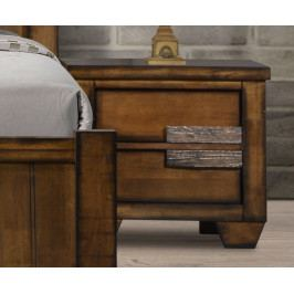 Noční stolek se zásuvkami z masivního dřeva v antické hnědé barvě typ levý KN987