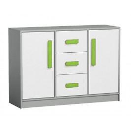 Komoda se zásuvkami v bílé matné barvě se zelenými úchyty a šedým korpusem typ 6 KN1076