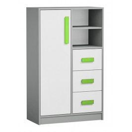Vysoká komoda se zásuvkami v bílé matné barvě se zelenými úchyty a šedým korpusem typ 5 KN1076