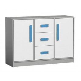 Komoda se zásuvkami v bílé matné barvě s modrými úchyty a šedým korpusem typ 6 KN1076