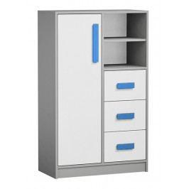 Vysoká komoda se zásuvkami v bílé matné barvě s modrými úchyty a šedým korpusem typ 5 KN1076