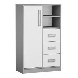 Vysoká komoda se zásuvkami v bílé matné barvě se šedými úchyty a šedým korpusem typ 5 KN1076