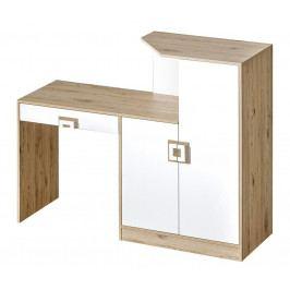 Pracovní stůl s komodou v dekoru dub jasný v kombinaci s bílou barvou typ 11 KN1078