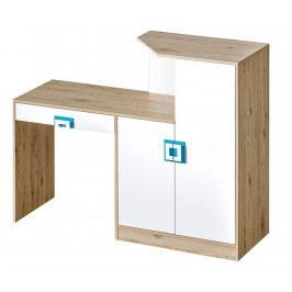 Pracovní stůl s komodou v dekoru dub jasný v kombinaci s bílou barvou s tyrkysovými úchytky typ 11 KN1078