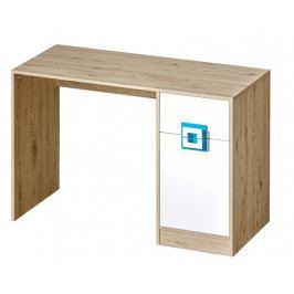 Pracovní stůl 120x50 cm v dekoru dub jasný v kombinaci s bílou barvou a tyrkysovými úchytky typ 10 KN1078