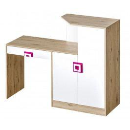 Pracovní stůl s komodou v dekoru dub jasný v kombinaci s bílou barvou s růžovými úchytky typ 11 KN1078