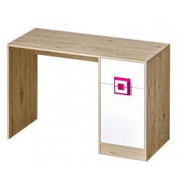 Pracovní stůl 120x50 cm v dekoru dub jasný v kombinaci s bílou barvou a růžovými úchytky typ 10 KN1078