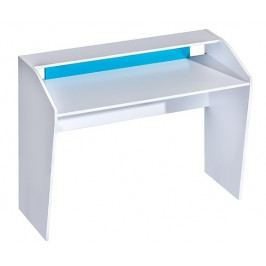 Pracovní stůl 120x50 cm v bílé matné barvě v kombinaci s tyrkysovou barvou typ 9 KN1079