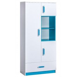 Kombinovaná skříň 90 cm v bílé barvě s tyrkysovými úchytky a policemi se zásuvkou typ 3 KN1079