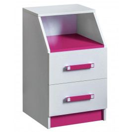 Kontejner se zásuvkami v bílé matné barvě s růžovými úchytky typ 15 KN1079