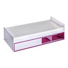 Postel 90x200 cm s úložným prostorem v bílé matné barvě v kombinaci s růžovou a roštem typ 13 KN1079