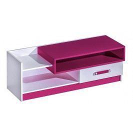 Televizní stolek 120 cm v bílé matné barvě v kombinaci s růžovou barvou typ 10 KN1079