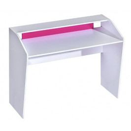 Pracovní stůl 120x50 cm v bílé matné barvě v kombinaci s růžovou barvou typ 9 KN1079