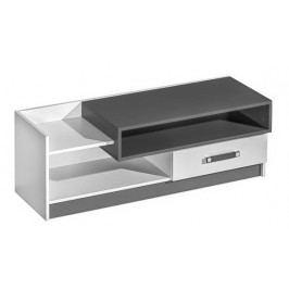 Televizní stolek 120 cm v bílé matné barvě v kombinaci se šedou barvou typ 10 KN1079
