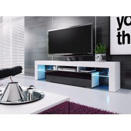 Televizní stolek 138 cm v bílé barvě a ve vysokém černém lesku KN1085