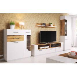 Obývací sestava v bílé matné barvě s dekorem dub wotan KN1081