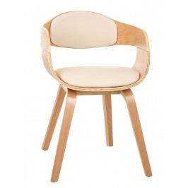 Jídelní židle s čalouněním v krémové ekokůži s dřevěnou konstrukcí SET 2 ks DO055
