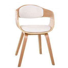Jídelní židle s čalouněním v bílé ekokůži s dřevěnou konstrukcí SET 2 ks DO055