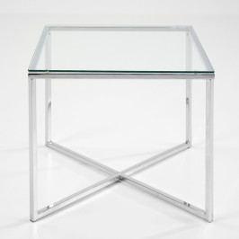 Konferenční stolek 50x50 cm se skleněnou deskou na kovové podnoži DO048