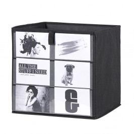 Úložný box 32x32 cm v černé barvě s možností vystavení fotografií DO061